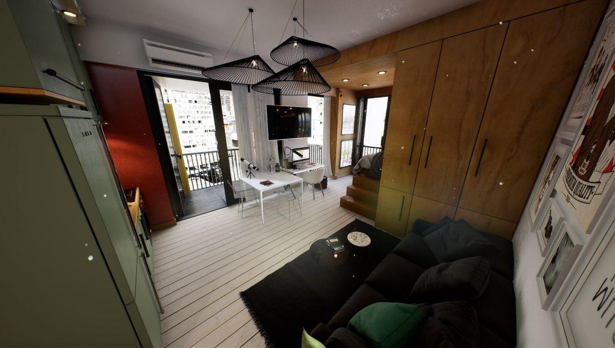 მისაღები ოთახის ფოტო ერთანი სივრცით და ჭკვიანი გეგმარებით შენდება თბილისში