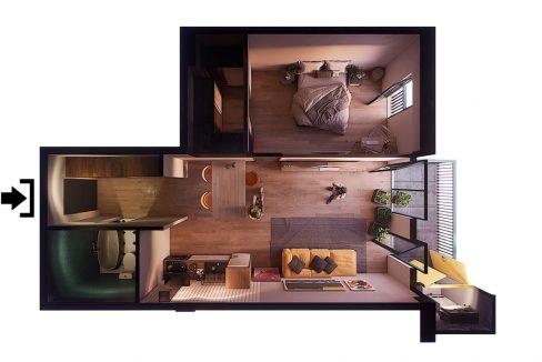 მშენებარე ბინები თბილისში 60 კვმ ერთ საძინებლიანი - iBuild