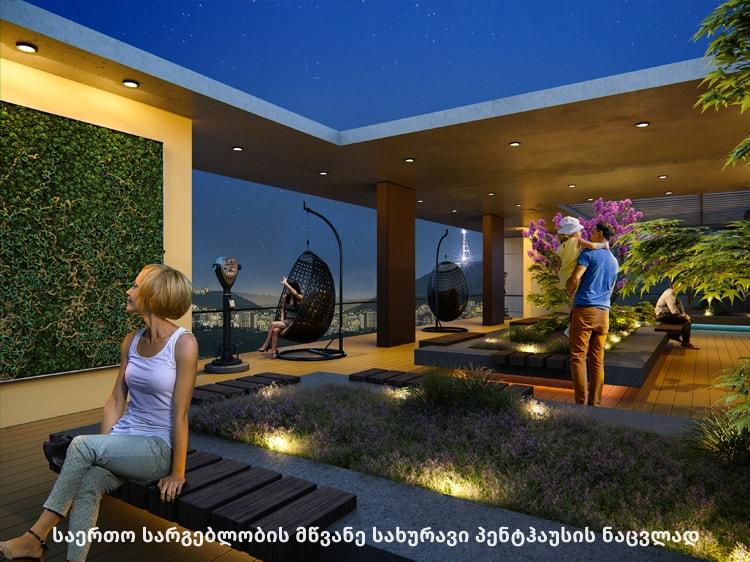 მწვანე სახურავი პენტჰაუსის ნაცვლად მშენებარე კოპრუსი ნუცუბიძის მესამე პლატოზე - iBuild.ge