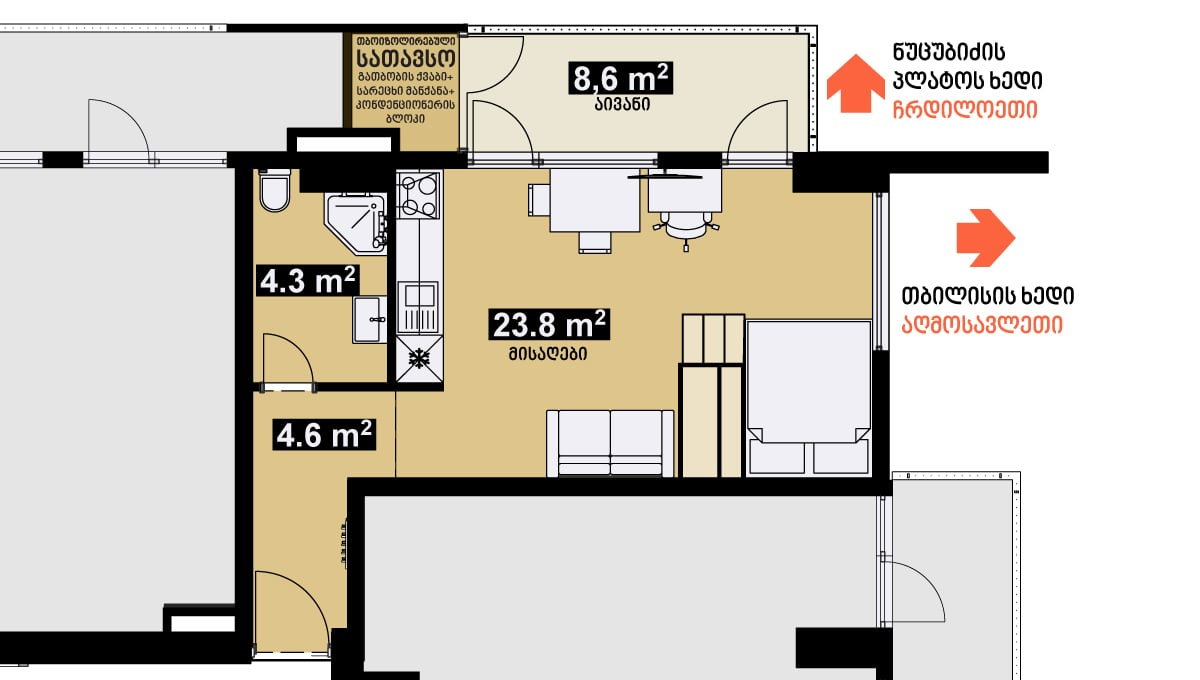 42 m2 სტუდიოს ტიპის ბინა გეგმარება ერთიანი სივრცე - iBuild.ge