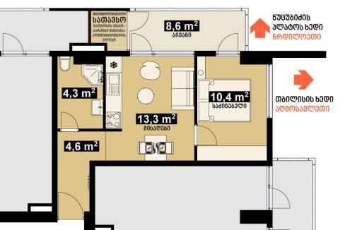 42 m2 სტუდიოს ტიპის ბინა - გეგმარება - iBuild.ge