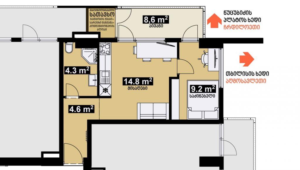 42 m2 სტუდიოს ტიპის ბინა გეგმარება იზოლირებული საძინებლით - iBuild.ge